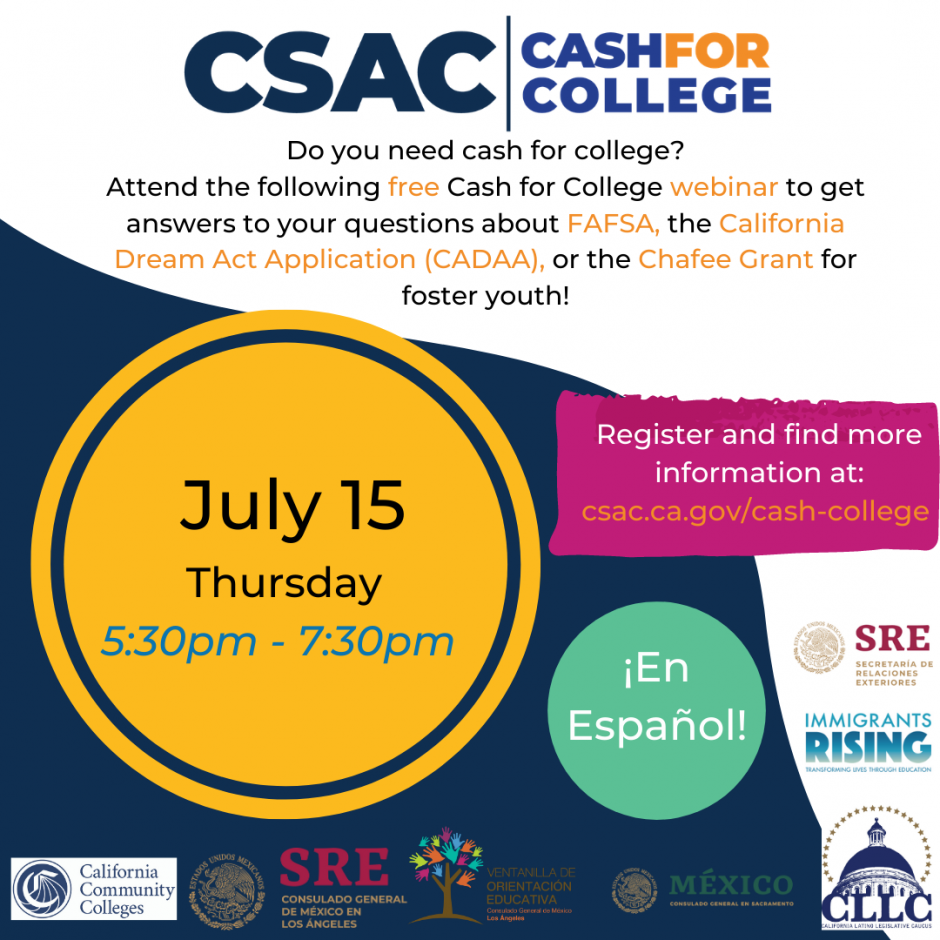 July 2021 Cash for College