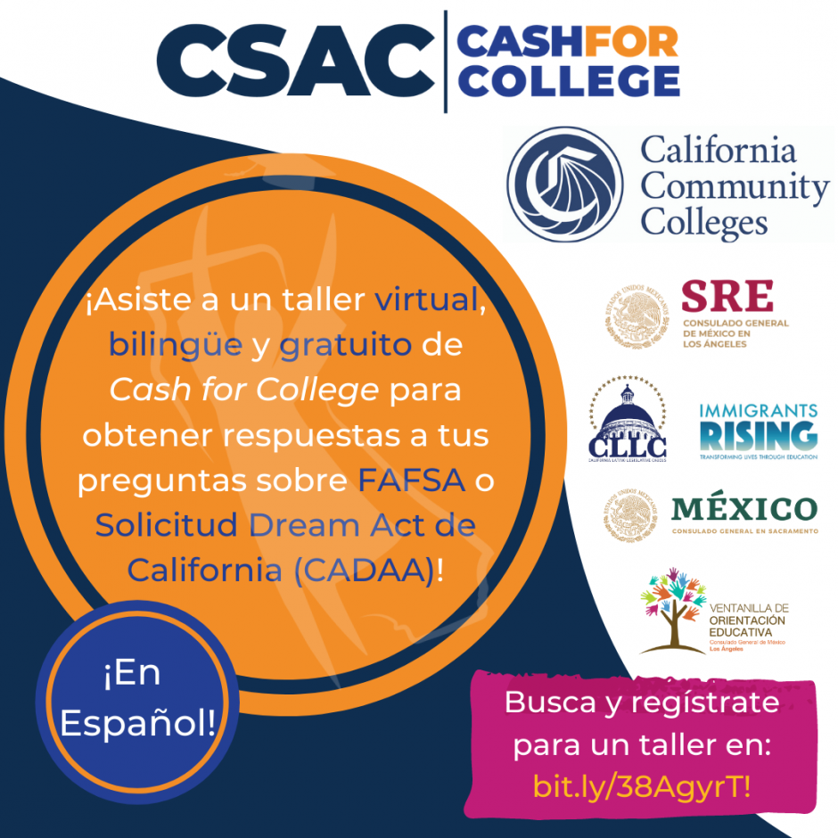 Registration Spanish  and Registrate Espanol Cash for College